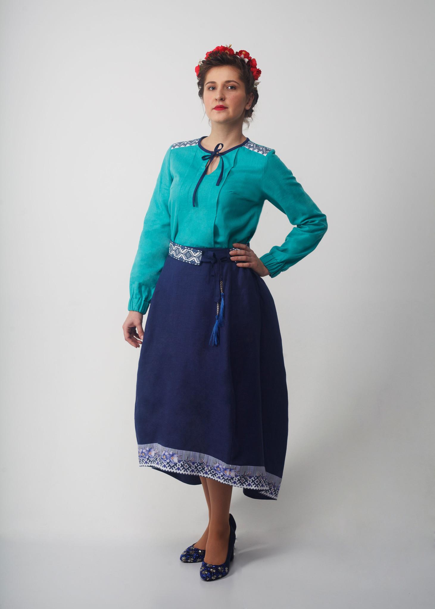 Юбка льняная Славянка 01 с блузкой Бирюза