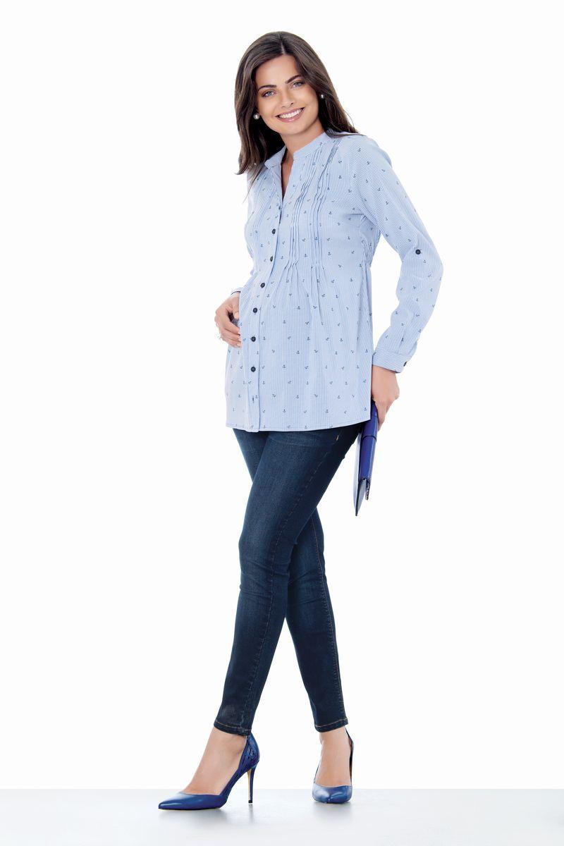 Блузка для беременных 01407 голубой