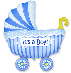 Шар (14''/36 см) Мини-фигура, Коляска для мальчика, Голубой, 5 шт.