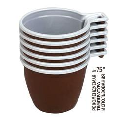 Чашка одноразовая хол/гор, 200 мл, коричн./бел., ПП, 50шт./уп.