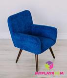 Детское стильное кресло в стиле 60-х, глубокий синий 7