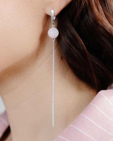 Длинные серебряные серьги кисти с розовым кварцем