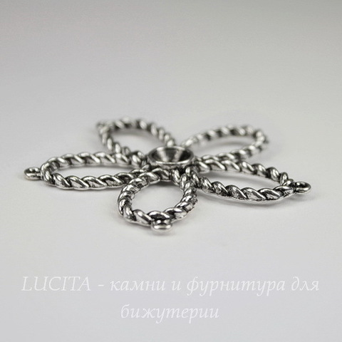 """Коннектор большой """"Цветок"""" (2-2) 49х48 мм (цвет - античное серебро)"""