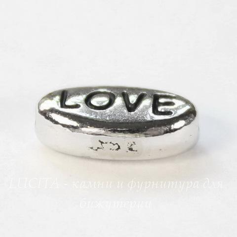 "Бусина овальная TierraCast ""Love"" 11х6х4 мм (цвет-античное серебро)"