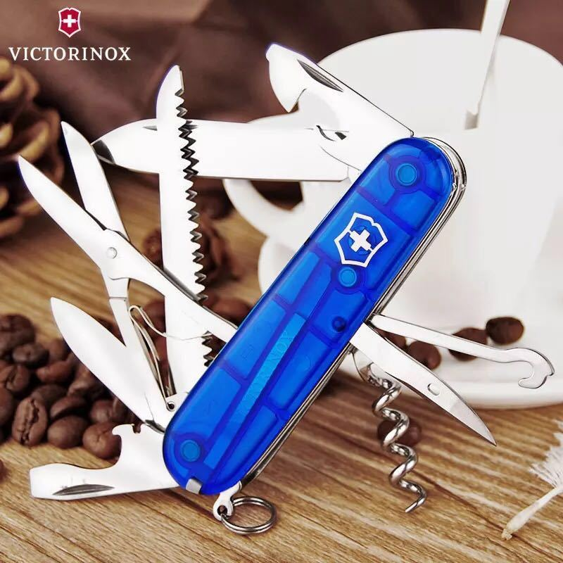 Складной нож Victorinox Huntsman Blue Trans (1.3713.T2) 91 мм., 15 функций, синий полупрозрачный - Wenger-Victorinox.Ru