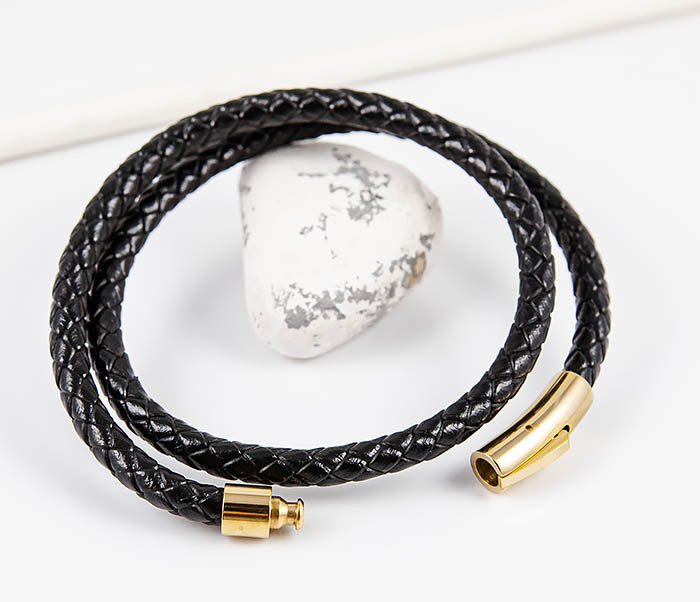 BM513-1G Двойной плетеный браслет из кожаного шнура фото 06