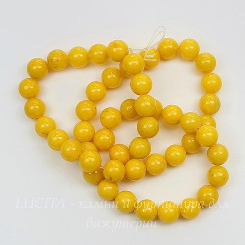 """Бусина Жадеит (тониров), шарик, """"Солнечный"""", 8 мм, нить"""