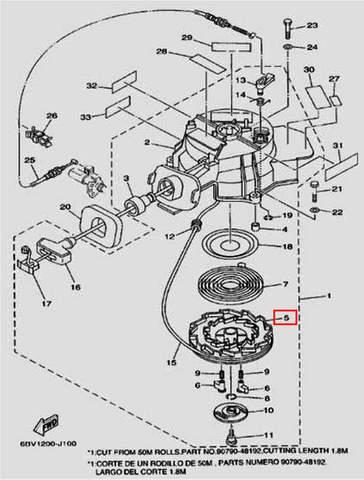 Заводной барабан для лодочного мотора F5 Sea-PRO(10-5)