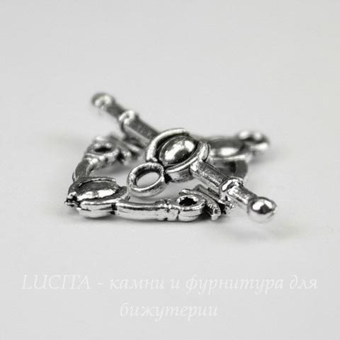 Замок - тоггл из 2х частей (цвет - античное серебро) 21х15 мм, 25 мм