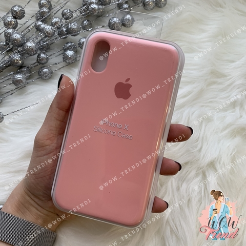 Чехол iPhone X/XS Silicone Case /pink/ пудра 1:1