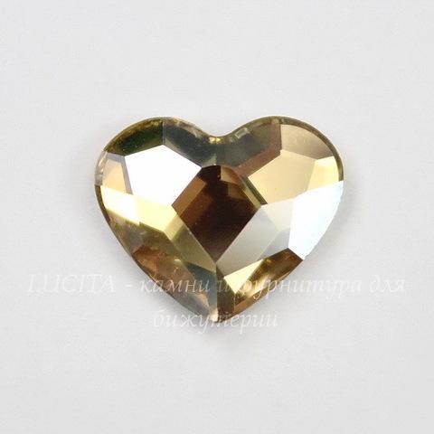 """2808 Стразы Сваровски холодной фиксации """"Сердце"""" Crystal Golden Shadow (10 мм)"""
