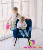 Детское стильное кресло в стиле 60-х, глубокий синий 2