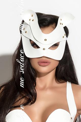 Белая эротическая маска из материала под латекс
