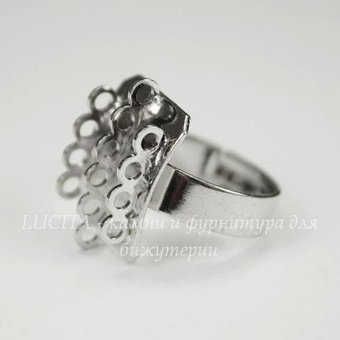 Основа для кольца с прямоугольной  площадкой (14 петелек)(цвет - платина)