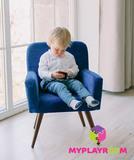 Детское стильное кресло в стиле 60-х, глубокий синий 5