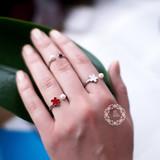 Серебяное кольцо с иск. жемчугом и красной эмалью