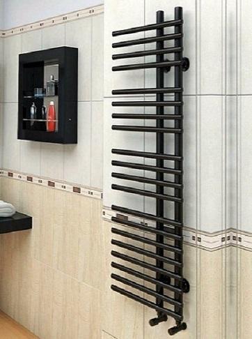 Astra Black-черный полотенцесушитель с перекладинами внахлест.
