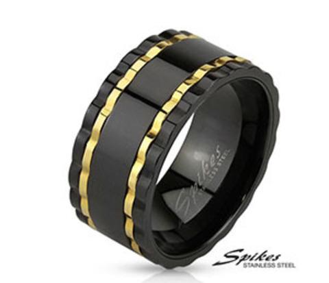 Черное широкое мужское кольцо из ювелирной стали