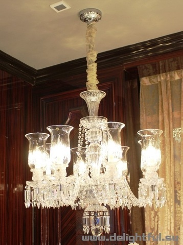replica  BACCARAT ZÉNITH CHANDELIER  ( 6 lights + clear shades )
