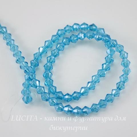 Бусина стеклянная, биконус, цвет - голубой с перламутром, 4 мм, нить