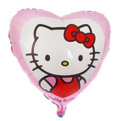 Шар фольга Hello Kitty в сердце розовом