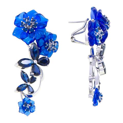 Серьги с цветами из синего кварца и сапфиром Арт.2212сс