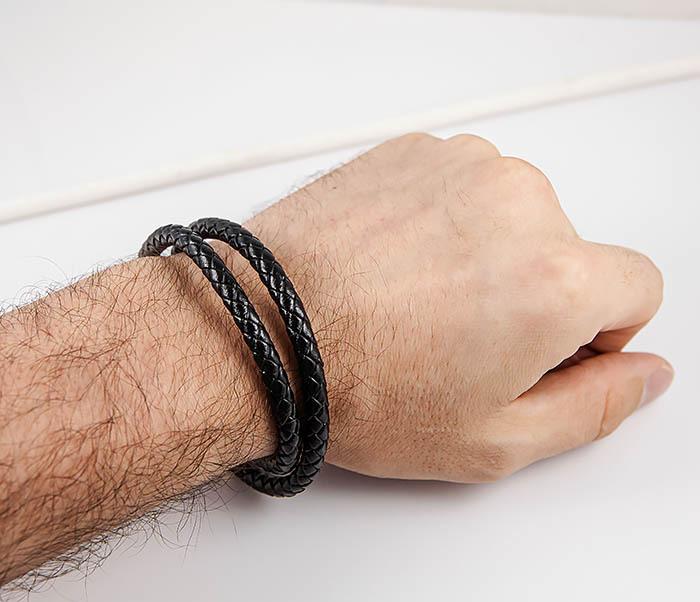 BM513-1G Двойной плетеный браслет из кожаного шнура фото 07