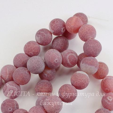 Бусина Агат цветочный матовый (тониров), шарик, цвет - красно-коричневый, 10 мм, нить