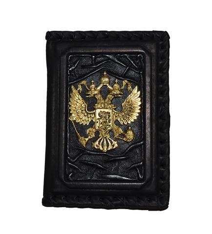 Обложка для паспорта «Герб РФ» в бархатном мешочке