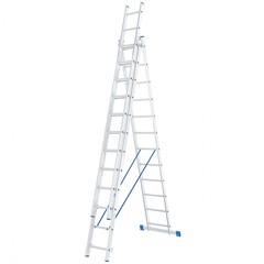 Лестница, 3 х 12 ступеней, алюминиевая, трехсекционная, Россия, Сибртех