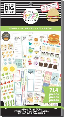 Блокнот со стикерами для ежедневника -Happy Planner Sticker Value Pack-Yum, 714 шт