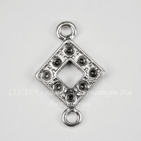 """Коннектор """"Ромбик"""" (1-1) 16х12 мм (цвет - античное серебро)"""