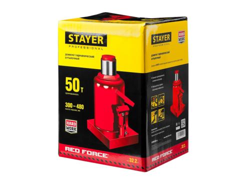 STAYER RED FORCE 50т 240-360мм домкрат бутылочный гидравлический