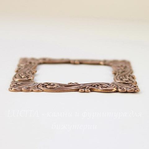 Винтажный декоративный элемент - рамка 48х48 мм (оксид меди)