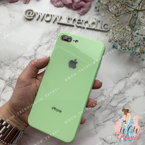 Чехол iPhone 7/8 Plus Glass Full color Case Logo /green/