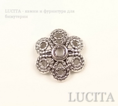 "Шапочка для бусины ""Цветок 6 лепестков"" (цвет - античное серебро) 12,5х4 мм, 10 штук"