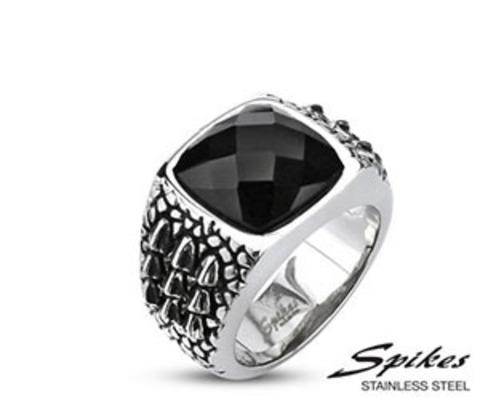 R-Q2008 Мужской перстень с черным камнем (