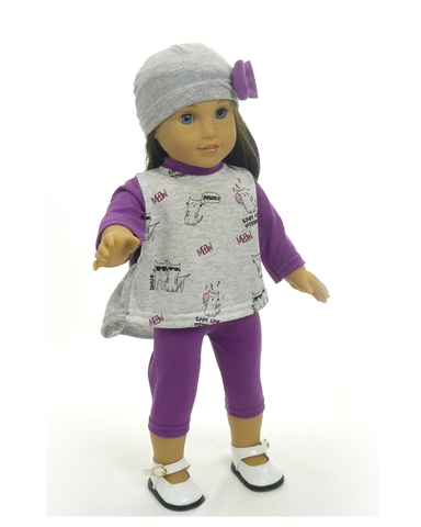 Трикотажный костюм с туникой - на кукле. Одежда для кукол, пупсов и мягких игрушек.