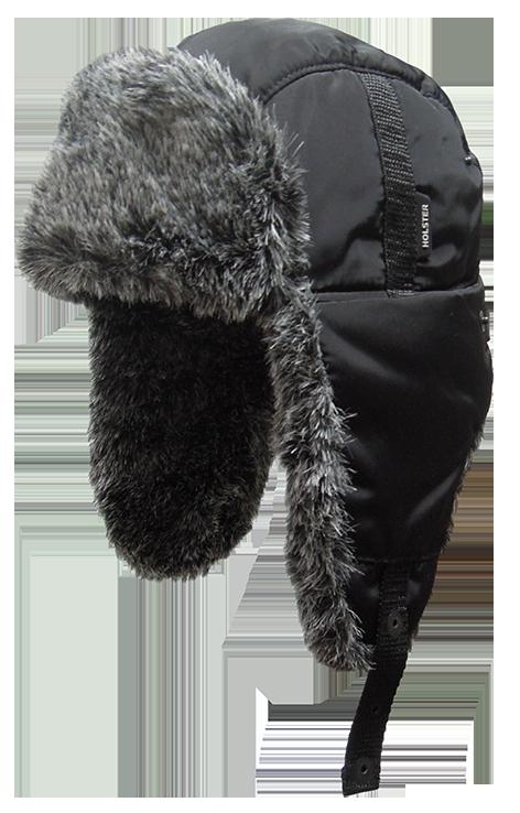 Шапка ушанка с мех.опушкой / курточная ткань / черный