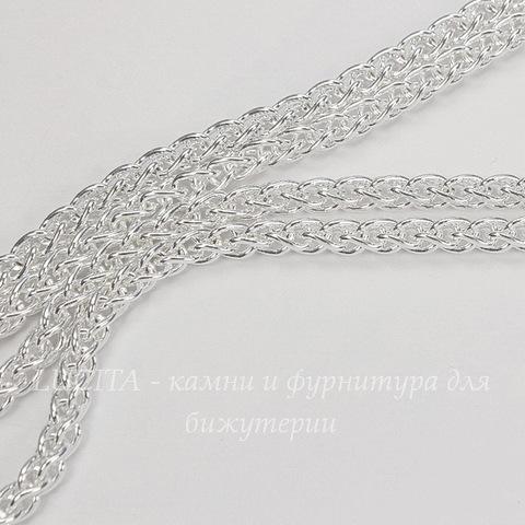 Цепь - жгут (цвет - серебро) 6х4 мм, примерно 1 м