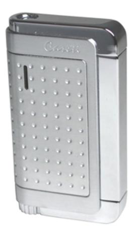 Отличная стильная брендовая французкая газовая зажигалка Caseti серебристый хром матовый, рисунок