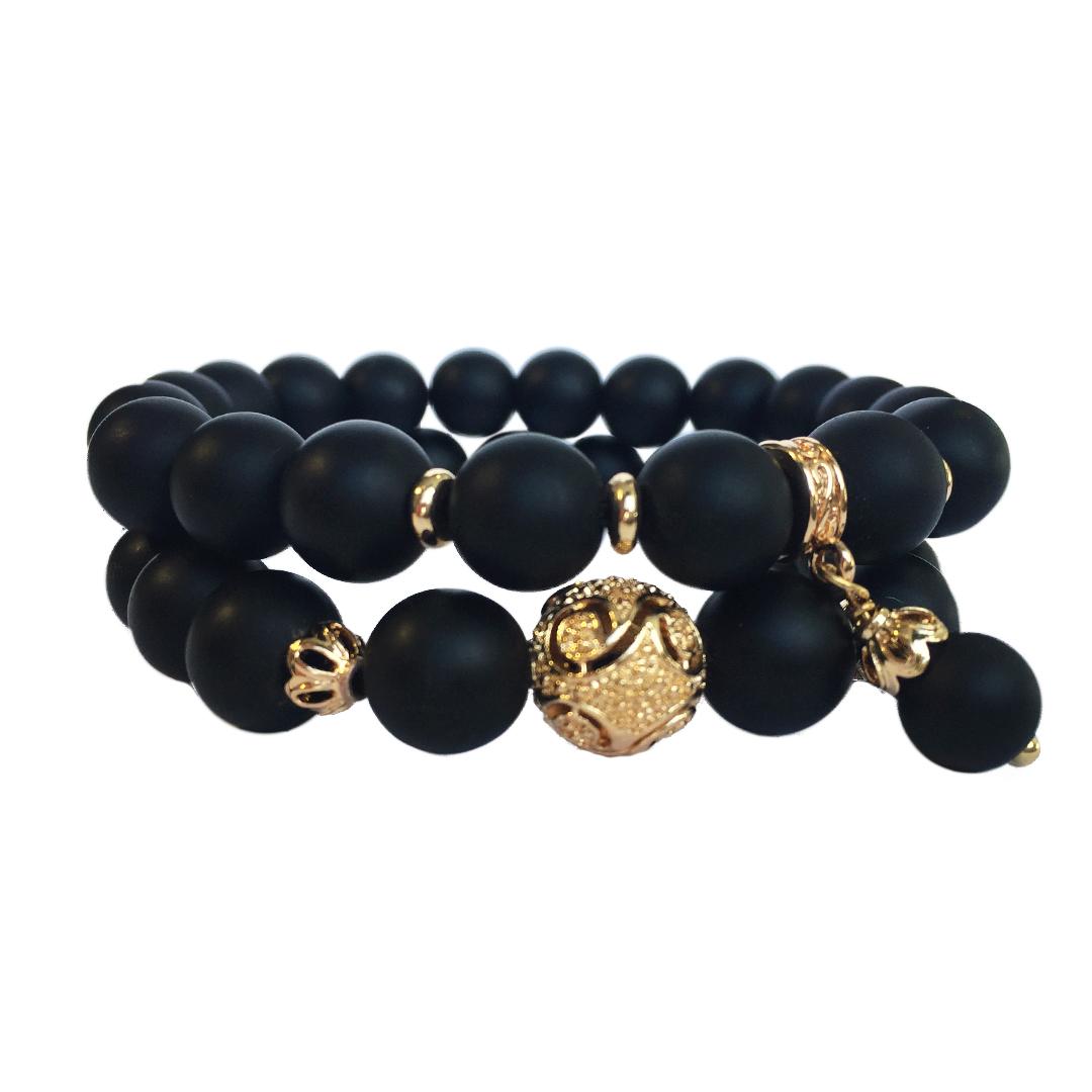 Комплект Black Tie из 2-х браслетов из шунгита с позолоченными вставками ювелирного качества Karabulat