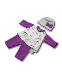 Трикотажный костюм с туникой - Фиолетовый. Одежда для кукол, пупсов и мягких игрушек.