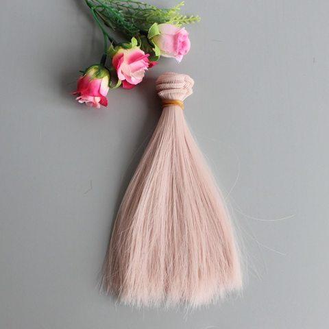 Волосся для ляльки, треси лялькові 15 см. Пудрові