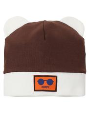 10104-3 шапка для мальчиков, бело-коричневая