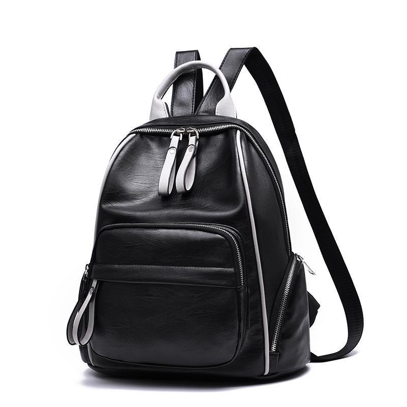 Женский большой рюкзак 32х37х16 см чёрный с белым 9240-3