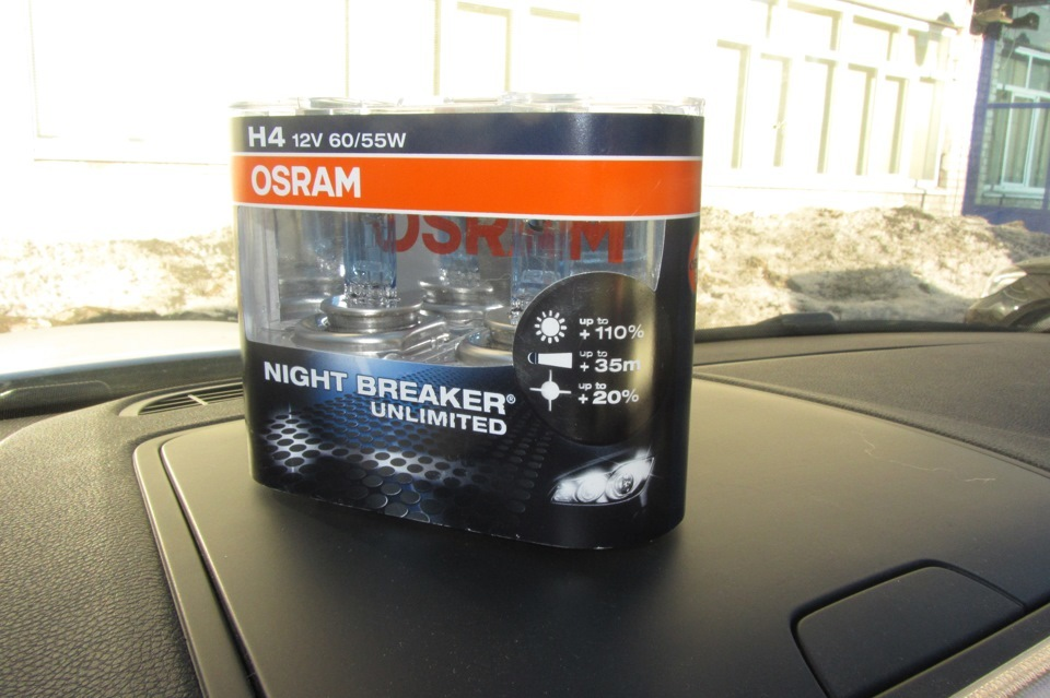 Лампы галогенновые Osram H4 Night Breaker Unlimited, 12V 55W, +110% лампы галогенновые osram h4 night breaker unlimited 12v 55w 110%