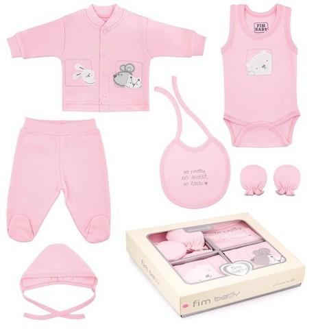 Набор одежды для детей FIMBABY 200077 от 0 до 6 мес. 7 предметов (р.62 розовый цвет)