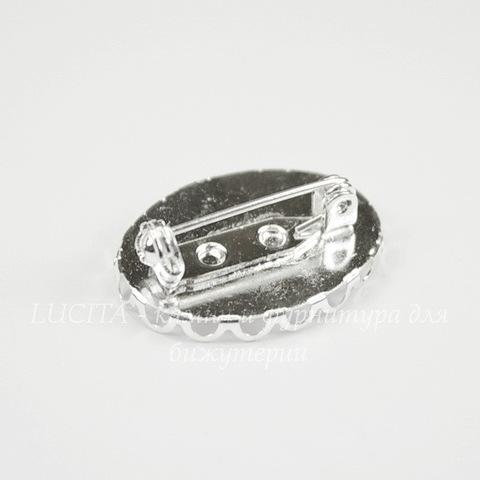 Основа для броши с сеттингом с ажурным краем для кабошона 25х18 мм (цвет - серебро)