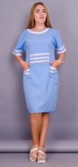 Ванесса. Стильное платье супер батал. Голубой.
